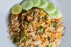 Arroz frito de la comida tailandesa con cerdo Imagen de archivo libre de regalías