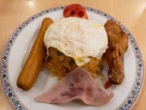 Arroz frito del americano, arroz frito popular en Tailandia Imagenes de archivo