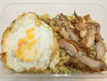 Arroz frito del curry verde con el pollo frito y el huevo frito en una caja Alimento tailandés - fritada #6 del Stir Imagen de archivo libre de regalías