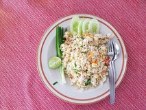 Arroz frito tailandés con el cangrejo Imagenes de archivo