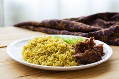 Arroz Halal del árabe de la comida fotos de archivo
