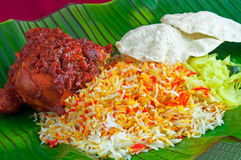 Arroz indio de Briyani del pollo Foto de archivo libre de regalías