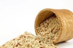 Arroz integral cru na caixa de bambu (Kratip), foco raro Fotos de Stock Royalty Free
