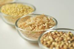 Arroz moreno - grano Gluten-libre en el fondo blanco Foto de archivo