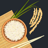 Arroz na bacia cerâmica com hashis Esteira de bambu da cozinha, galho do arroz ilustração royalty free