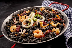 Arroz negro recipe with shrimp Stock Photography