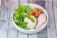 Arroz oleoso fluído do jasmim e chamada fluída da galinha como Hainanes foto de stock royalty free