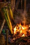 Arroz pegajoso asado en las juntas de bambú Imagenes de archivo