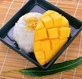 Arroz pegajoso dulce del postre con leche de coco del mango Fotos de archivo