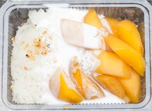 Arroz pegajoso dulce tailandés con el mango imagen de archivo libre de regalías