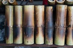 Arroz pegajoso en bammboo Imagen de archivo
