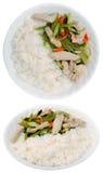 Arroz, pollo, y plato del veggie Imagen de archivo