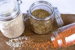 Arroz, quinoa e lentilhas Imagens de Stock Royalty Free