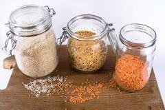 Arroz, quinoa e lentilhas Fotografia de Stock