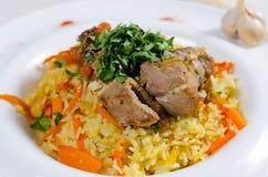 Arroz saboroso do açafrão com carne e vegetais Imagem de Stock Royalty Free