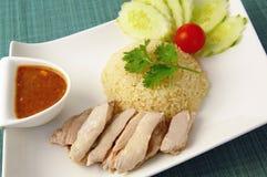 Arroz tailandés con el pollo Fotos de archivo