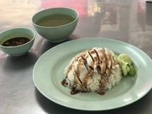 Arroz tailandês da galinha com sopa Foto de Stock Royalty Free