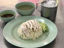 Arroz tailandês da galinha com sopa Fotografia de Stock