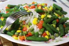 Arroz, vegetais, risotto - alimentação saudável Fotografia de Stock