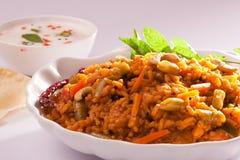 Arroz vegetal mezclado picante de la India imagen de archivo