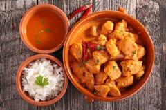 Arroz y carne cocinados con curry Fotos de archivo libres de regalías