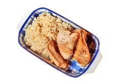 Arroz y carne del pollo Fotografía de archivo libre de regalías