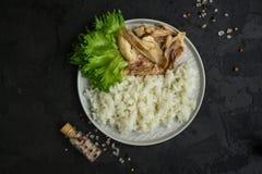 Arroz y carne hervida del pollo Nutrición apropiada Fondo del alimento Copie el espacio imagenes de archivo