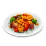 Arroz y cebollas del camarón Fotos de archivo