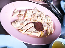 Arroz y salsa del pollo de Hainanese Imagen de archivo