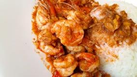 Arrozes dos alimentos rápidos com camarão Imagens de Stock