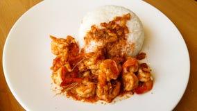 Arrozes dos alimentos rápidos com camarão Fotografia de Stock Royalty Free