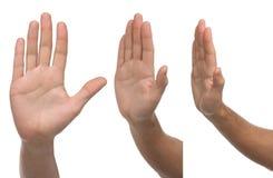 arrêt Trois signes masculins différents de main Image libre de droits