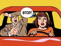 Arrêtez le calme de panique d'auto-école de conducteur de femme Photos stock