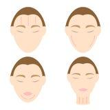 Arruga anti 2 de la cara del masaje fácil de la mujer stock de ilustración