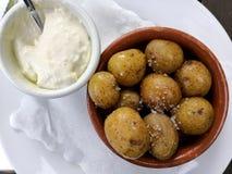 Arrugadas pattatas μπαμπάδων Ισπανικά tapas με τις αλατισμένες πατάτες και την άσπρη σάλτσα aioli στοκ φωτογραφία