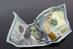 Arrugado cientos Dollard Bill Imagen de archivo libre de regalías