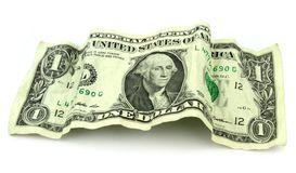 Arrugado un billete de banco del dólar Foto de archivo libre de regalías