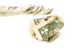 Arrugado un billete de dólar en el fondo blanco del aislante Fotografía de archivo libre de regalías