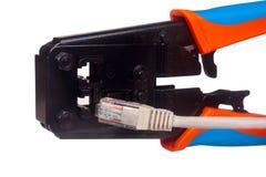 Arrugador del cable de la red Imagen de archivo libre de regalías