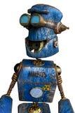 Arrugginito il robot blu in un fondo bianco illustrazione di stock