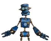 Arrugginito il robot blu in un fondo bianco illustrazione vettoriale