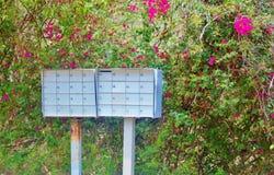 Arrugginito rurale e rinnovato noi scatole di stoccaggio della posta Fotografia Stock