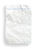 Arrugue el papel alineado blanco (con el camino de recortes) Fotografía de archivo libre de regalías