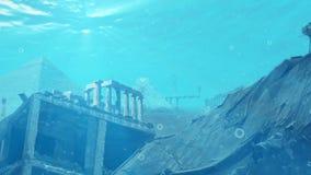 Arruina las señales se sumergió bajo el agua ilustración del vector