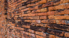 Arruine a parede de tijolo no templo antigo, Ayuddhaya Tailândia Imagem de Stock
