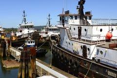 Arrullan los remolcadores de la bahía, costa meridional de Oregon Imágenes de archivo libres de regalías