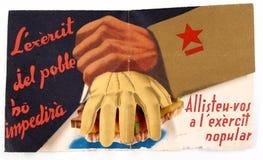 Arruolamento catalano repubblicano del manifesto nell'esercito popolare Guerra civile spagnola fotografie stock libere da diritti
