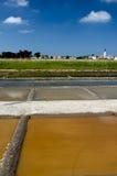 Ars enRé - Rhé小岛:盐蒸发池塘 免版税库存照片