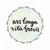 Ars longa vita brevis - latin phrase. Inspirational handwritten quote. Stock Images