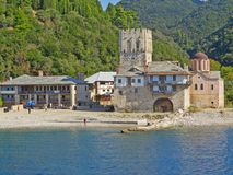 Arsanas port of Zografou medieval monastery on Holy Mount Athos. Greece stock images